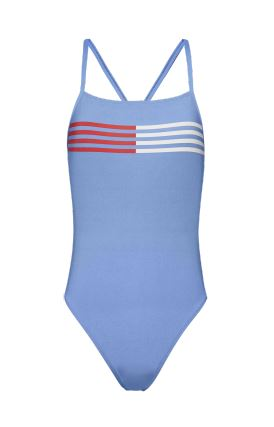 Cross back flag lines one piece [Baby blue] Swim Tommy Hilfiger