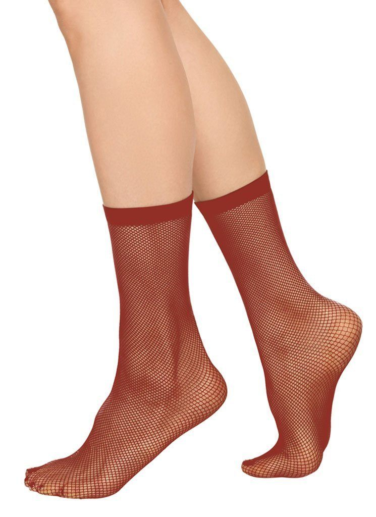 Liv net ankle sock [Red] - The Pantry Underwear