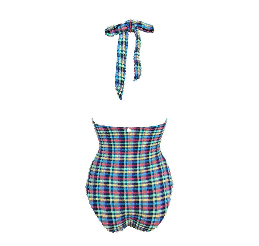 Gingham waffle gold detail multi-tie swimsuit [Blue Gingham] Swim Lilliput & Felix