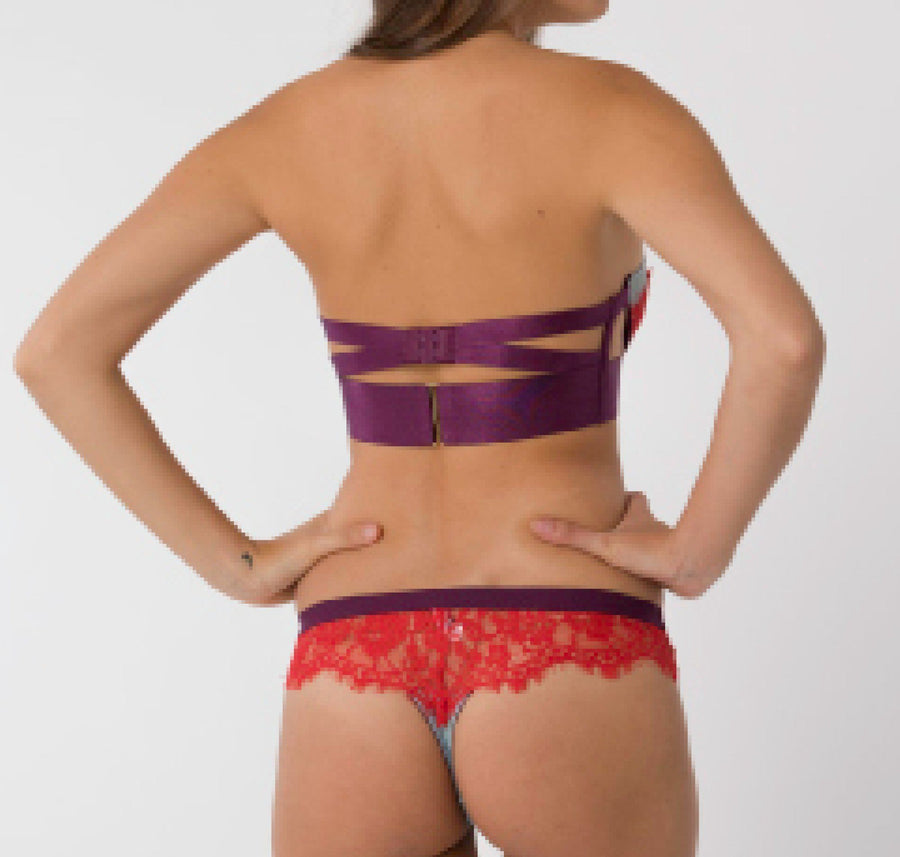 Sky mesh & red lace strapless - The Pantry Underwear