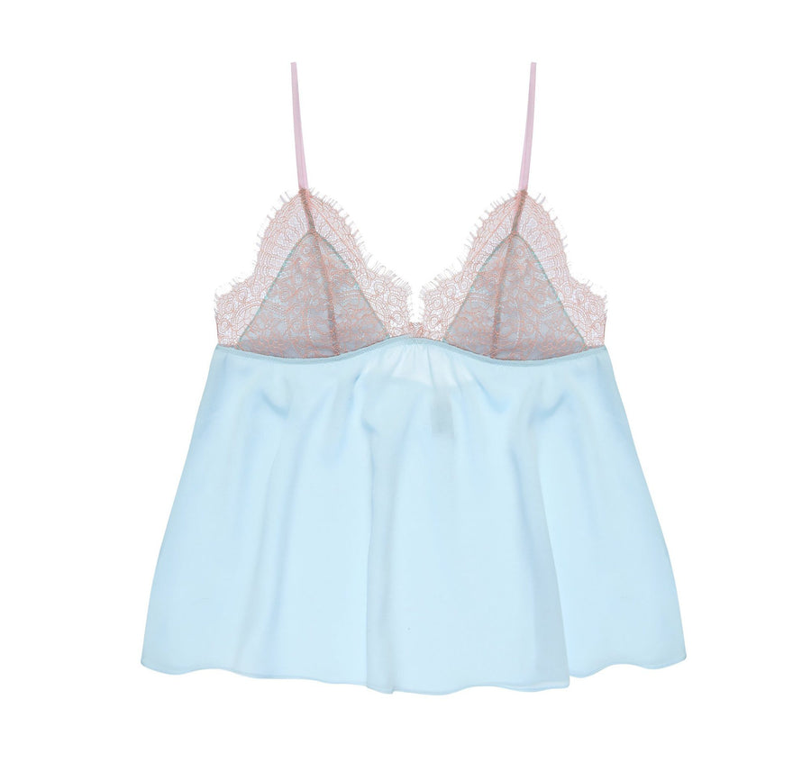 Powder blue satin & blush eyelash cami