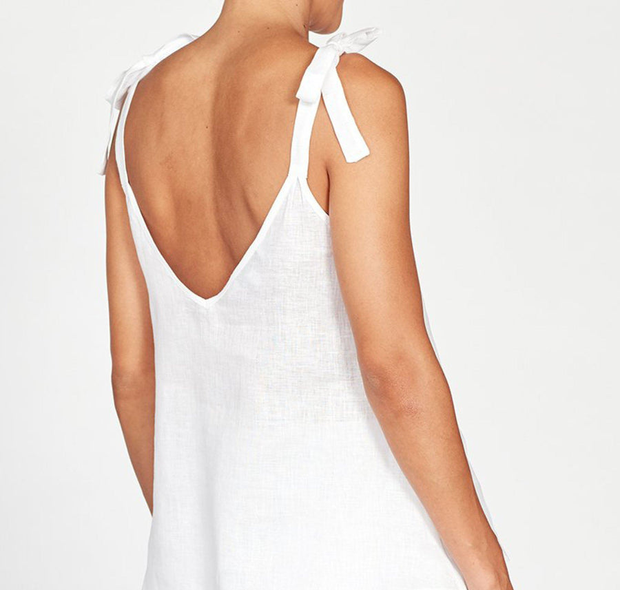 Tie Shoulder Linen Cami [Crisp White] Sleep Hesper Fox