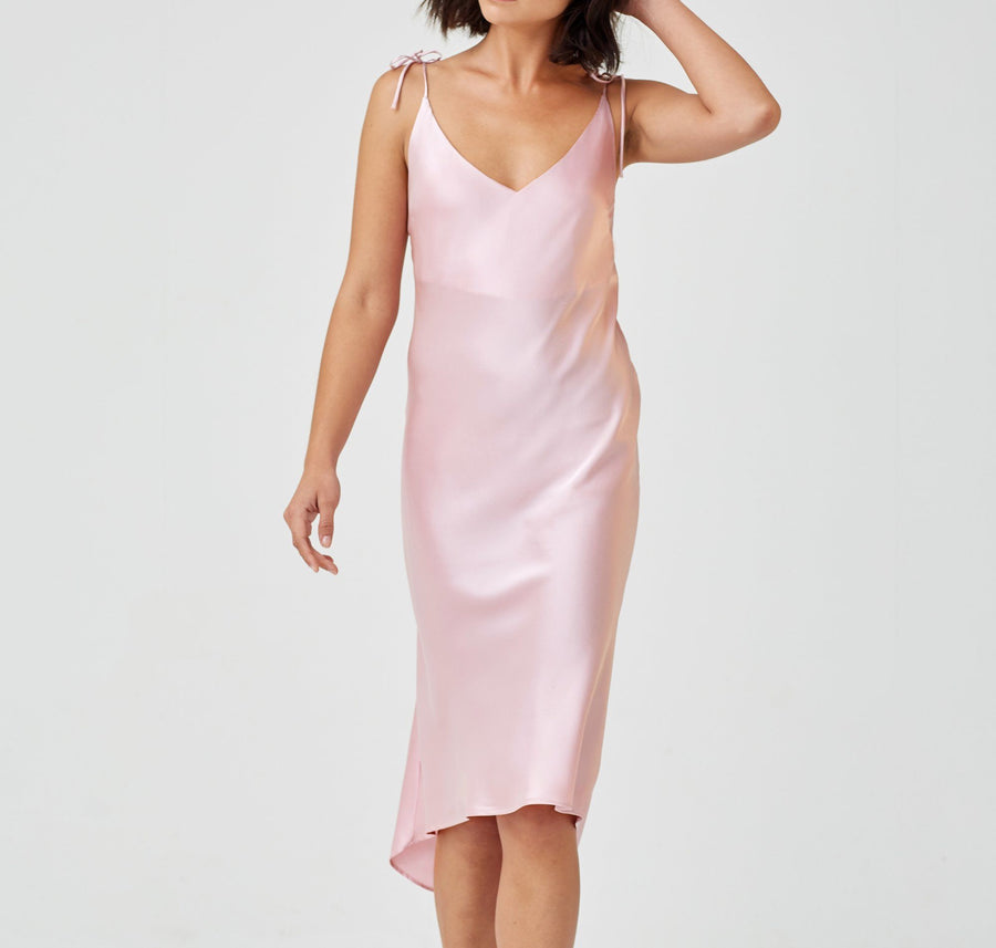 Calf-length silk slip dress [Pantry Pink] Sleep Hesper Fox extra-small