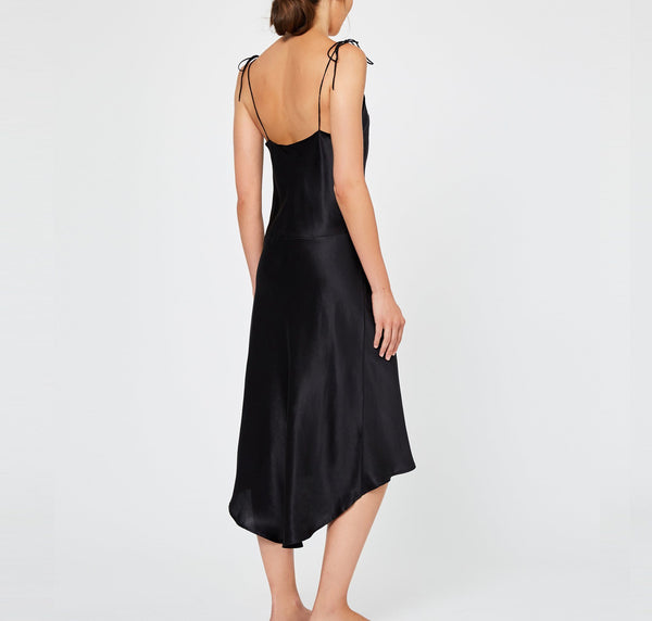 Calf-length silk slip dress [Black]