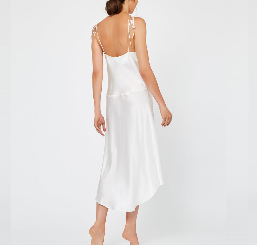 Calf-length silk slip dress [Ivory] - The Pantry Underwear