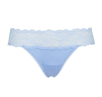 Lace overlay thong [Carolina Blue] - The Pantry Underwear