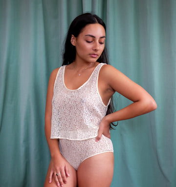 Loose lace cami [Cream] Sleep Icone Lingerie