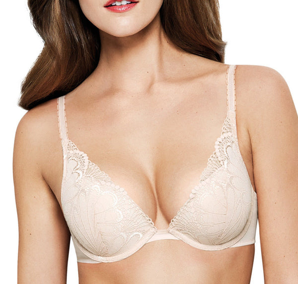 Deco lace plunge push-up [Ivory]