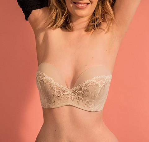 Deco lace strapless [Ivory] - The Pantry Underwear