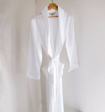 Linen Full Length Robe [Crisp White] Sleep Hesper Fox