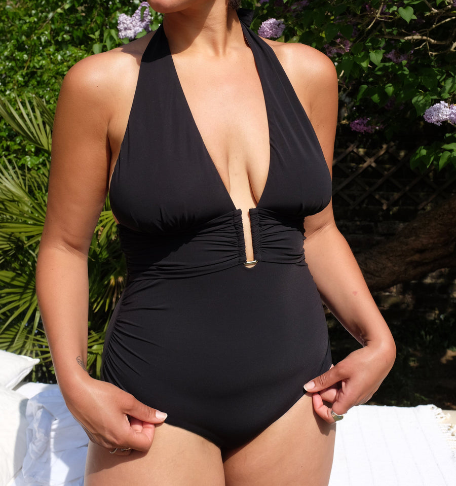 Gold detail multi-tie swimsuit [Black]
