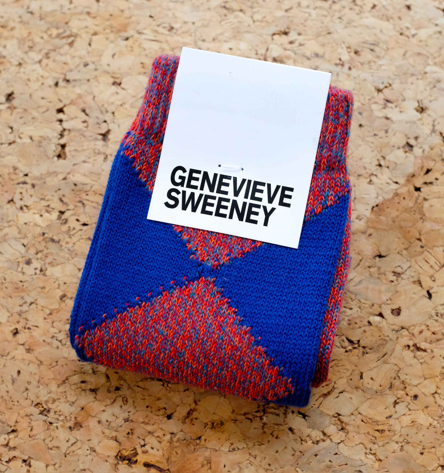 Argyle cotton sock [Red / Blue] Accessories Genevieve Sweeney