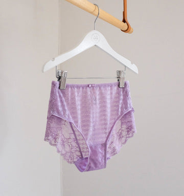 Houndstooth & floral lace french knicker [Lilac] Bottoms Panache