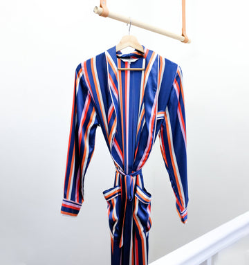 Floor length silk robe [Cruise stripe]