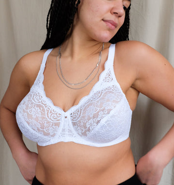 Scalloped lace full cup [White]