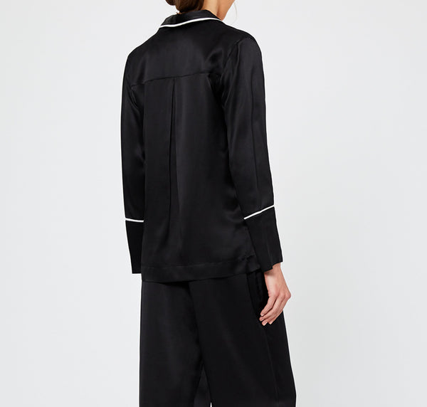 Monochrome silk pyjama shirt [Black]