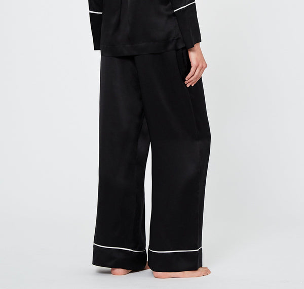 Monochrome silk pyjama bottoms [Black]
