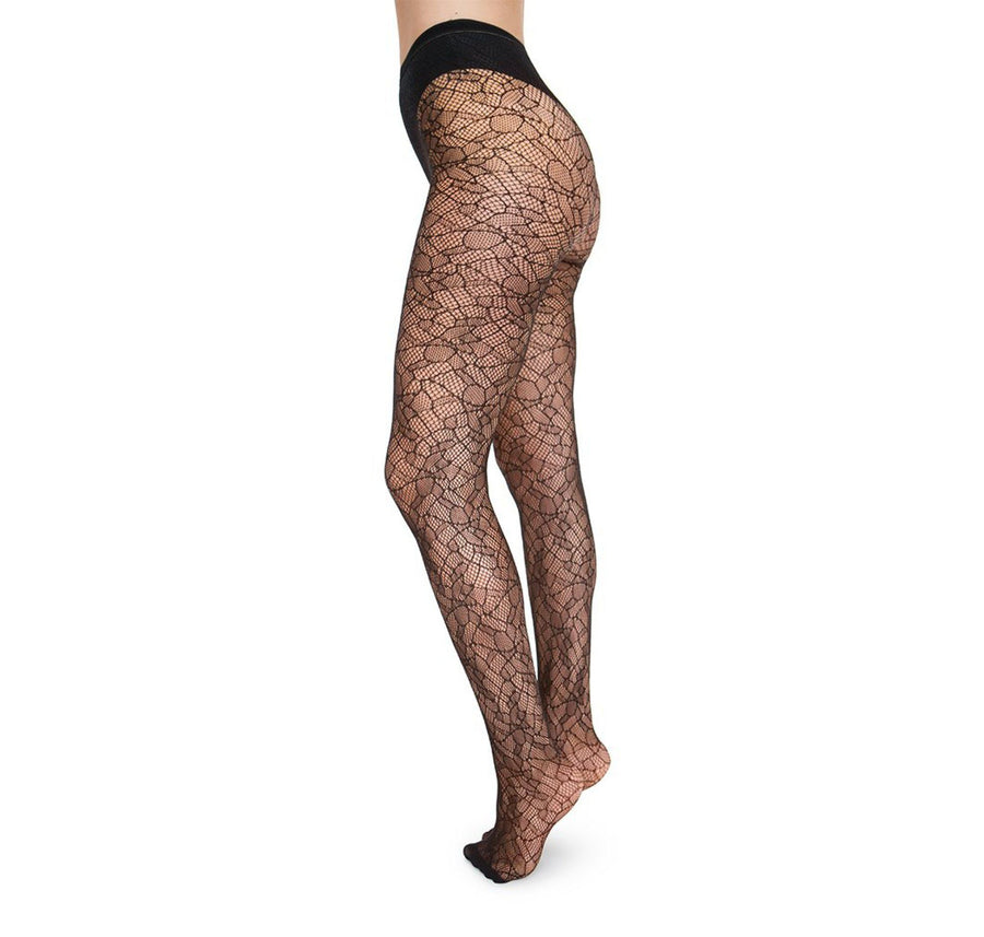 Edith lace tights [Black] - The Pantry Underwear