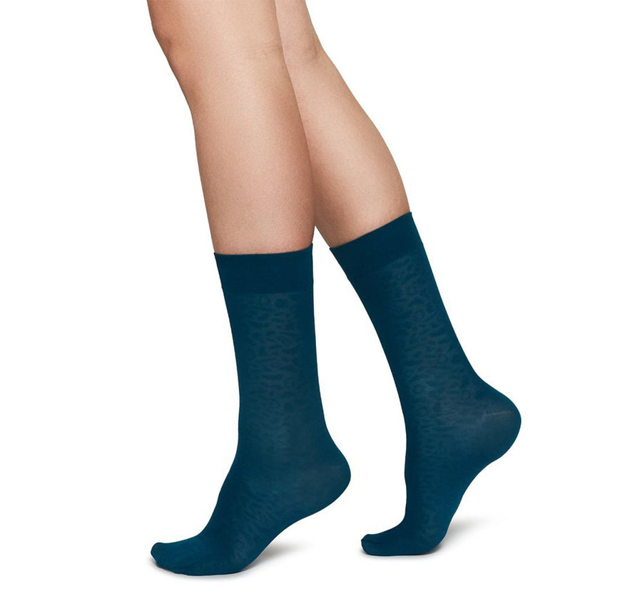 Emma leopard sock [Blue] - The Pantry Underwear