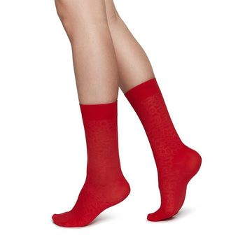 Emma leopard sock [Red] Accessories Swedish Stockings