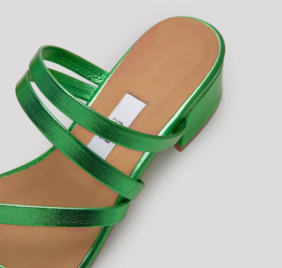 Leather strappy sandal with cushioned sole [Metallic Emerald] Accessories E8 by Miista