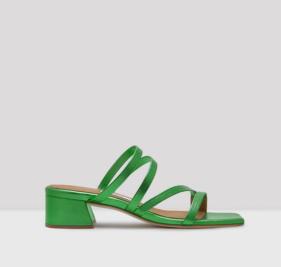 Leather strappy sandal with cushioned sole [Metallic Emerald] Accessories E8 by Miista 35