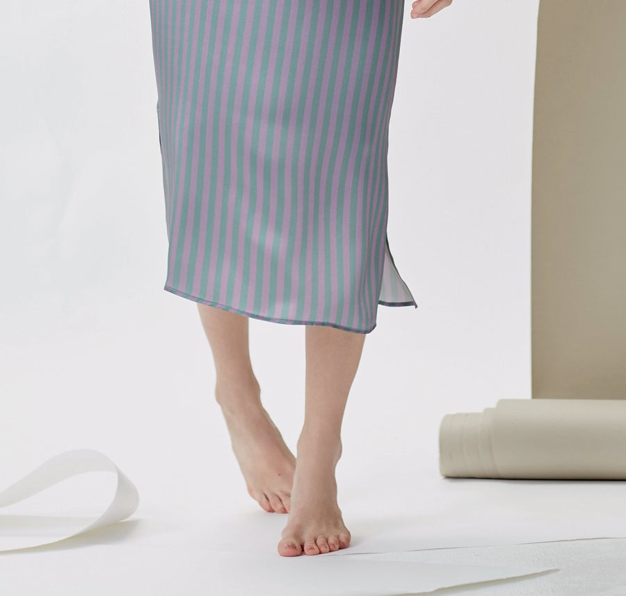 Silk straight cut nightdress [Stripe] - The Pantry Underwear