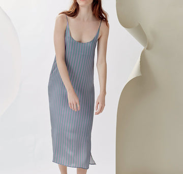 Silk straight cut slip dress [Stripe] Sleep Hesper Fox extra-small