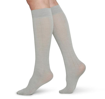 Freja organic wool knee highs [Light Grey] Accessories Swedish Stockings
