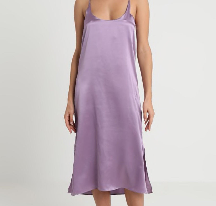 Silk straight cut  nightdress [Lavender] - The Pantry Underwear
