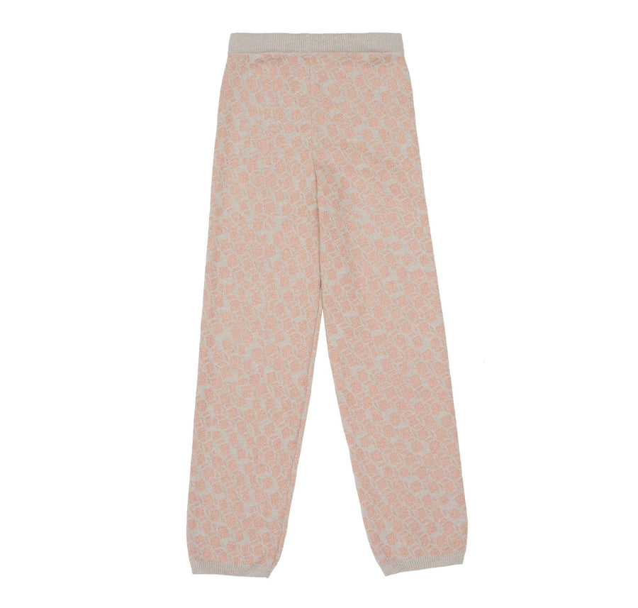 Merino cashmere jacquard crew neck & trouser [Natural wool & pink lurex] - The Pantry Underwear