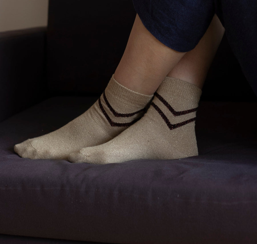 Lurex chevron sock [Gold] Accessories Genevieve Sweeney