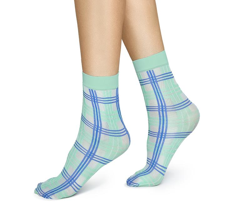 Greta tartan socks [Green/Sea Blue] Accessories Swedish Stockings