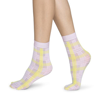 Greta tartan socks [Light Pink/ Neon Yellow] Accessories Swedish Stockings