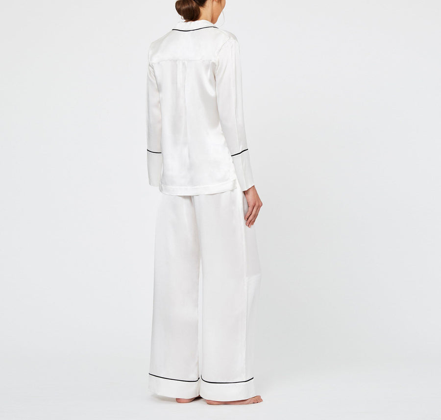 Monochrome silk pyjama bottoms [Ivory] - The Pantry Underwear