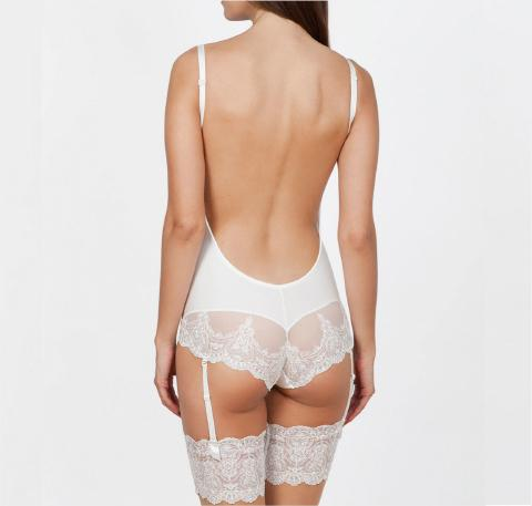 Low back bridal body w. lace [Ivory] Bridal Ivette