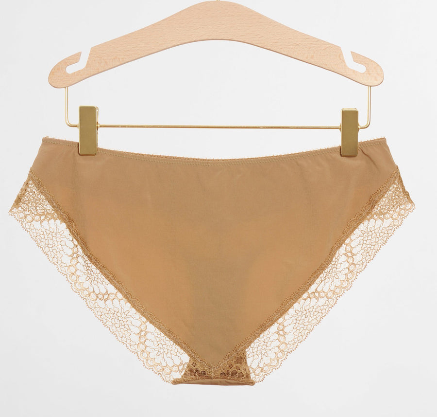 Micofibre & lace brief [Caramel] Bottoms Icone Lingerie