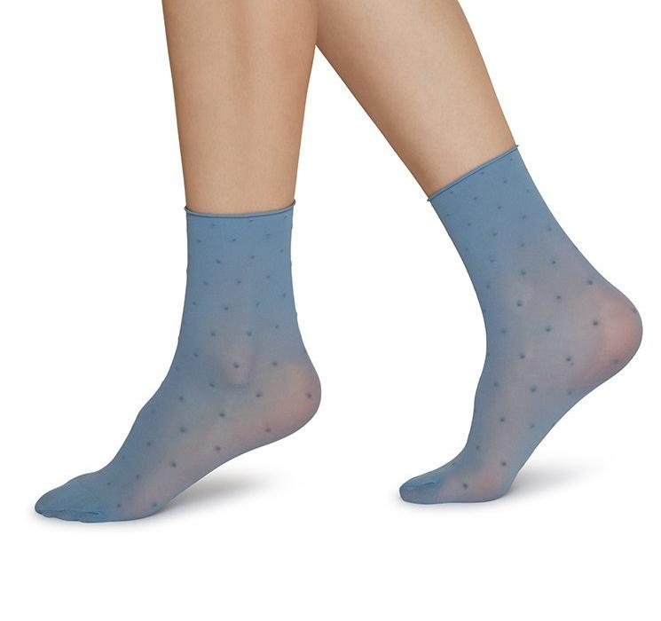 Judith dot socks 2 pack [Dusty Blue/Ivory] Accessories Swedish Stockings