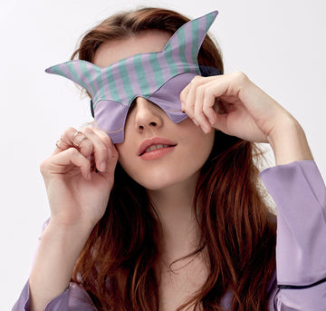 Silk kitsune eye mask [stripe] - The Pantry Underwear