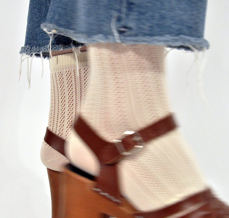 Klara knit sock [Beige] Accessories Swedish Stockings