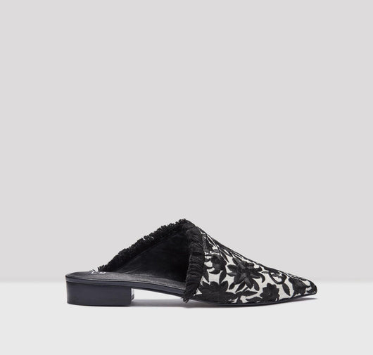 Leroy embroidered flats [Black & Cream] - The Pantry Underwear