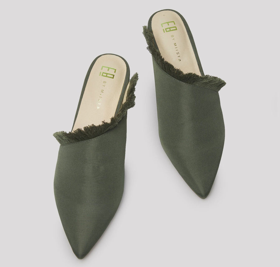 Pointed slip-on with fringe detail [Olive]