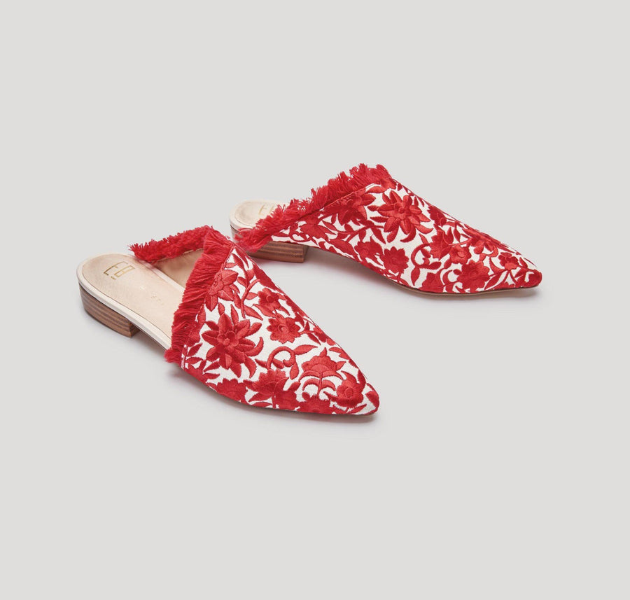 Leroy embroidered flats [Red & Cream] - The Pantry Underwear