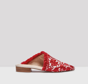 Pointed slip-on with fringe detail [Red Brocade] Accessories E8 by Miista 37