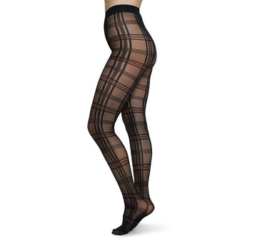 Lotta check tights [Black/Wine] Accessories Swedish Stockings