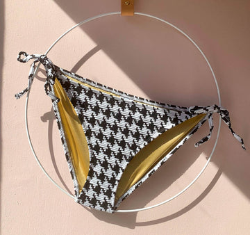 Houndstooth waffle tie side bikini bottom [Monochrome]