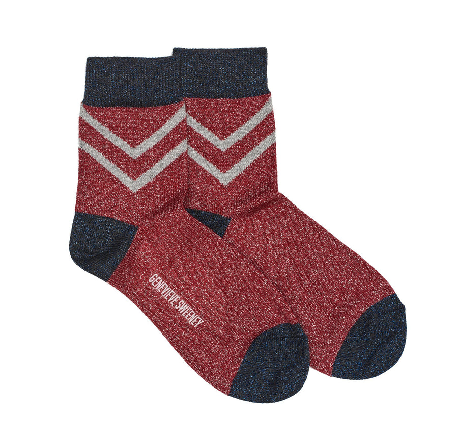Lurex chevron sock [Red]