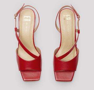 Square toe leather sling backs [Red] Accessories E8 by Miista