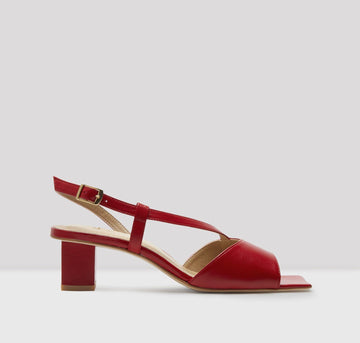 Square toe leather sling backs [Red]