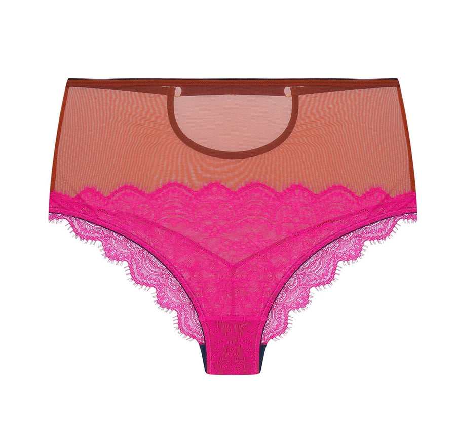Hot pink lace & rust mesh high rise knicker Bottoms Dora Larsen extra-small
